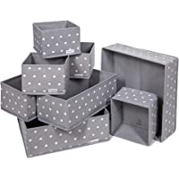 Lot de 8 Boites de Rangement - 3 tailles - Tiroir, armoire, étagère, placard - Panier pliable en tissu pour vêtements…