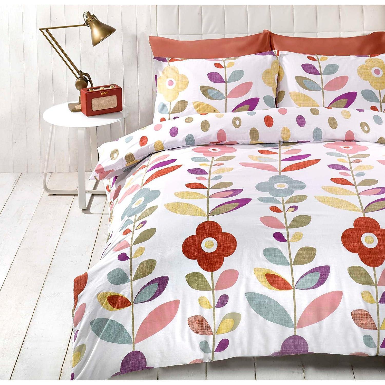 just contempo retro floral duvet cover set double multicolour  - just contempo retro floral duvet cover set double multicolouramazoncouk kitchen  home