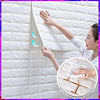Wolpin 3D White Brick Wallpaper for Wall PE Foam Wall Stickers Self Adhesive DIY Wall Decor (70 x 77cm, Appx. 5.8Sq Feet…
