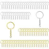 Huahao 80 stuks metalen sleutelringen sleutelhanger met ketting 25 mm afneembare sleutelring met schakelketting sleutelhanger