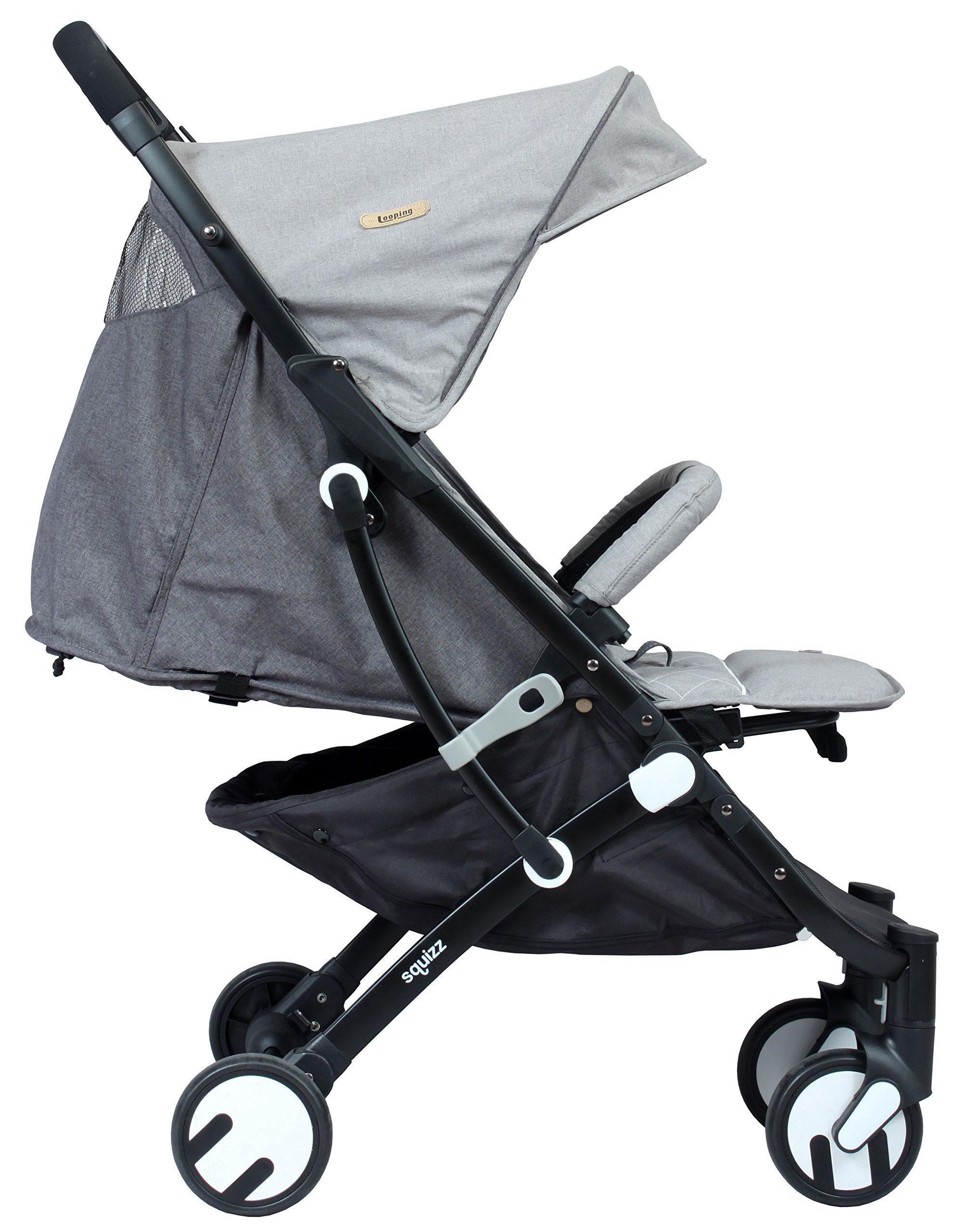LOOPING Poussette compacte Squizz 2 Z15 - Gris chiné Looping Very compact babies's pushchair from birth up to 15kg. Smart pull-along handle that enables you to pull the pushchair. Folds up and unfolds with one hand. Large canopy to better protect your baby- Removable and opening bumper bar to keep your baby in place. 6