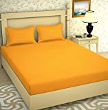 BROMWICK Prime Collection Bedsheets,Solid Plain Yellow Double bedsheet with 2 Pillow Covers (Yellow)