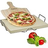 Relaxdays 10020489 Pierre à pizza 3 cm épaisseur pierre à pain rectangle support en métal pelle à pizza en bois HxlxP: 7 x 43