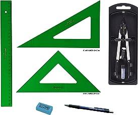 Pack Confezione Faber Castell tecnico–Righello 813–30cms + Squadra 566–28cms + Squadra 666–28cms + balaustrone Compasso con adattatore universale 32722–8+ regalo