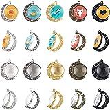 PandaHall Set di ciondoli cabochon a Doppio Lato, 5 Colori 20 Pezzi Vassoi con Ciondolo a Rotazione lunare Lunetta con 40 cab