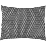 douceur d'intérieur 1641528 OPTIC Taie Oreiller Volant Plat Coton Anthracite/Blanc 50 x 70 cm