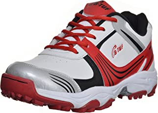 B-Tuf AMBITION Rubber Spikes/Studs Cricket Shoes Mens/Womens (Red/White)