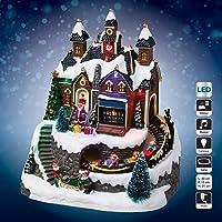 Village de Noël lumineux Atelier et train de Noël lumineux