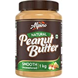 Alpino Natural Peanut Butter Smooth 1 KG | Unsweetened | Made with 100% Roasted Peanuts | 30% Protein | No Added Sugar | No A
