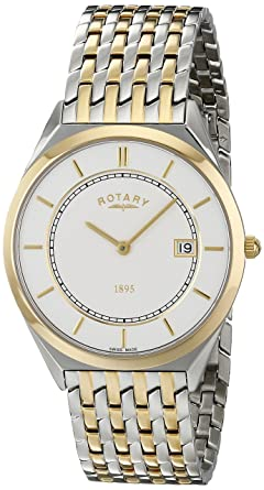 gents mens two tone stainless steel ultra slim rotary quartz gents mens two tone stainless steel ultra slim rotary quartz battery watch on bracelet date
