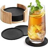 Sidorenko Posavasos de Silicona Redondos Para Vasos - Juego De 8 Incluye Caja I Posavasos De Diseño En Gris Oscuro Para Bebid