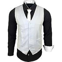 Subliminal Mode - Repassage Facile Gilet + Chemise + Cravate Homme Col Bicolore Uni Manches Longues Coupe Slim Business…