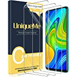 UniqueMe [3 Pack] Screen Protector Compatibel met Xiaomi Redmi Note 9, Gehard Glass Film, [Anti-Kras] [Case Friendly] HD Clar