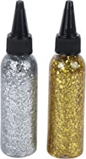 Yellow Bee Glitter Glue with Huge Glitter Bits - Pack of 2, Gold and Silver, 140ML