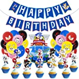 Sonic Decoración para Fiestas de Cumpleaños con Globos Banderín Feliz Cumpleaños Tarjetas de Tarta Adornos de Casa para Fiest