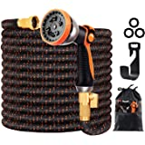 """150FT Expandable Garden Hose, Expandable Water Hose with 10 Function Nozzle, 3/4"""" Solid Brass Connectors, 3-Layers Latex Extr"""