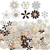 80 Piezas Botones Diamantes Imitación Botones Adornos Botones Perlas Imitación Botones Diamantes Imitación Flores Espalda Pla
