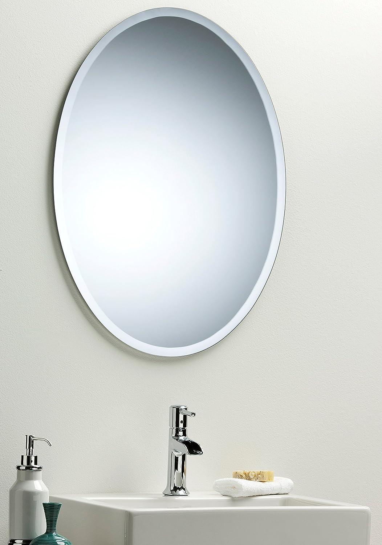 Oval Bathroom Wall Mirror Modern Stylish With Bevel Plain 2 Sizes