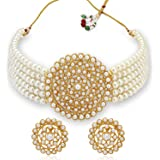 Sukkhi Adorable Gold Plated Pearl Choker Necklace Set for Women