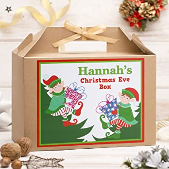 tabethas touch personalised large christmas eve box kraft brown gold ribbon party gift