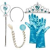 Katara 1008-0005 Eiskönigin ELSA Set aus Diadem, Handschuhe, Zauberstab, Zopf 2-9 Jahre, Blau/Blond
