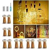【12 Stück】Nasharia 20 LEDs 2M Flaschen Licht Warmweiß, Lichterkette für Flasche LED Lichterketten Stimmungslichter Weinflasche Kupferdraht, batteriebetriebene für Flasche DIY, Dekor,Weihnachten