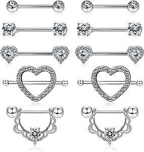 YADOCA 5 Accoppiamenti in Acciaio Inox Nipplerings Capezzoli Anelli Tongue Ring Cz Barbell Anelli a Forma di Cuore Body Piercing Jewelry Set per Le Donne Ragazze