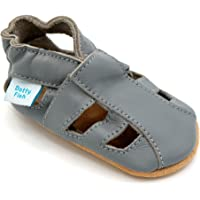 Dotty Fish Soft Leather Baby Shoes with Suede Soles. Toddler Sandals. Non-Slip. 0-6 Months to 3-4 Years