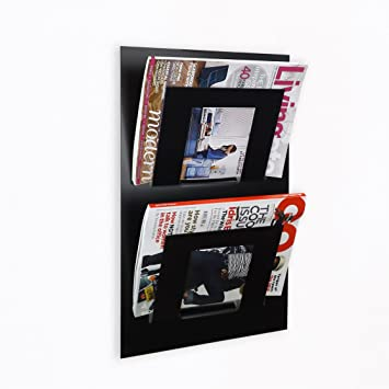 Wall Mounted Magazine Rack Double Black Amazoncouk Kitchen