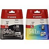 Canon PG-540XL/CL-541XL Cartouche Noire + Couleur XL+ Pack de 50 feuilles papier photo PP-201 10x15cm (Emballage plastique)