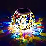 Zasilany energią słoneczną mozaika szklana kula lampy ogrodowe, Avril Tian zmieniające kolor słoneczne lampki nocne, wodoodpo