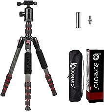 """BONFOTO B690C Leichte Kohlefaser Tragbare Reise Kamera Stativ mit 360 Grad Kugelkopf, 1/4 """"Schnellwechselplatte und Tragetasche für Canon Nikon Sony Samsung Fuji Olympus DSLR Kameras"""