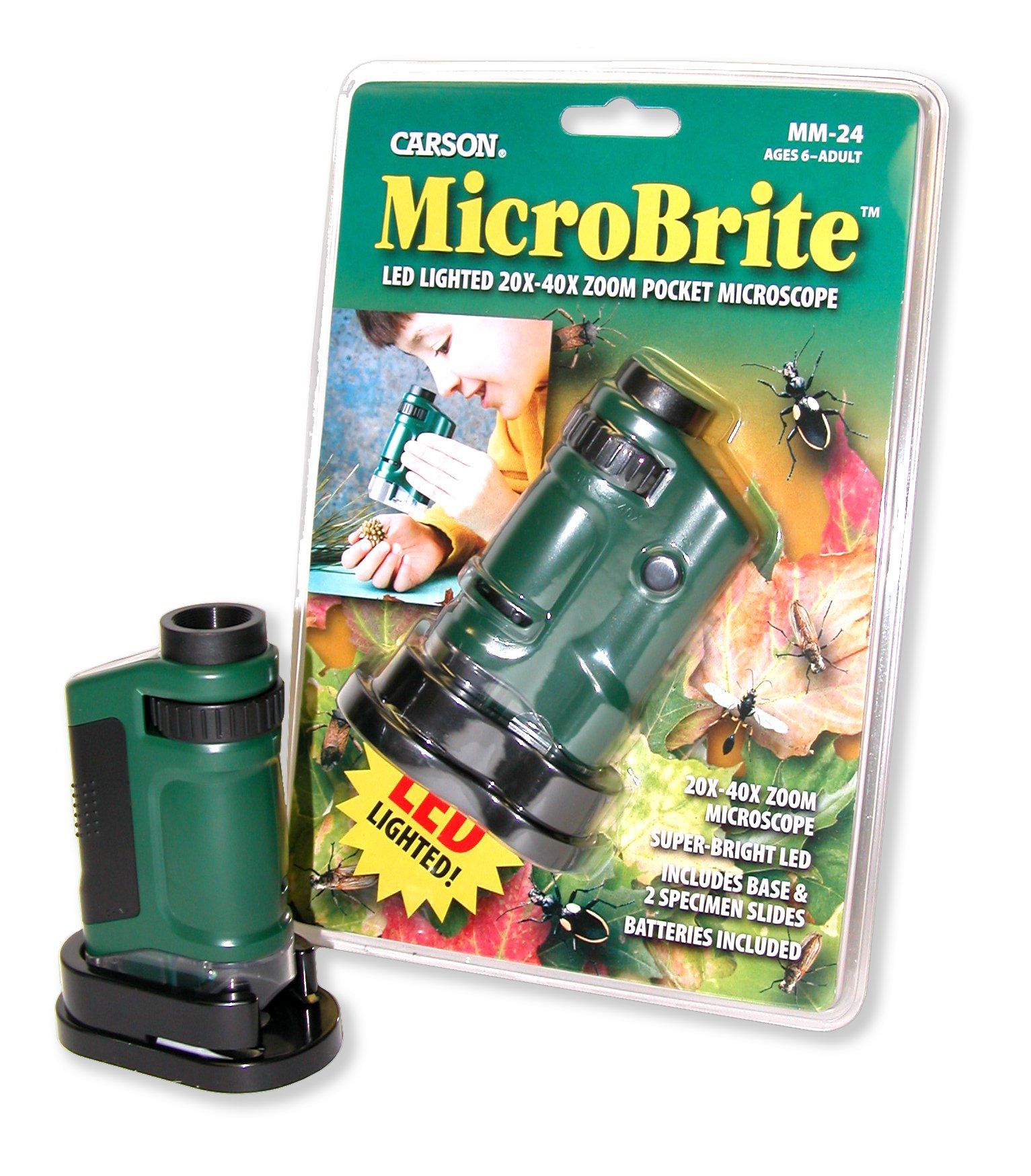 Carson Microbrite LED Lighted 20-40x Pocket Microscope with 2 Slides and Base Stand