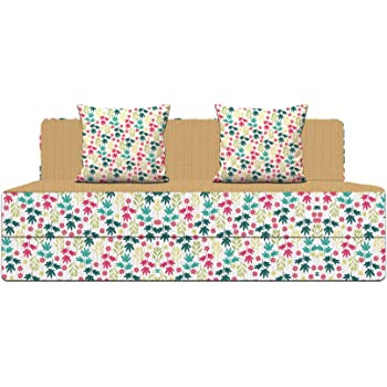 Aart Store 3X6 Feet One Seater Printed Mechanism Type Fold Out Sofa Cum Bed with One Cushion- Perfect for Guests