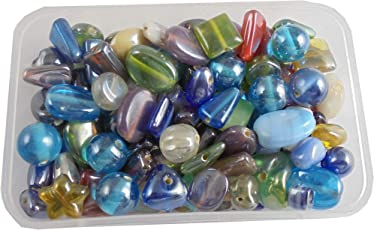 Eshoppee Multi Color Handmade Luster Glass Beads for Jewellery Making Material kit,Art and Crafts Material DIY kit. 200 gm