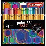 STABILO punkt 88 ARTY Tuschpenna, Paket med 24 med hängande flik, med 24 olika färger