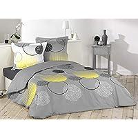 Loreto – A Quality Linen Brand 144 TC 100% Cotton Double Bedsheet with 2 Pillow Covers, Grey & Lemon Yellow