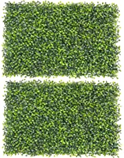 Fourwalls Artificial PVC Eucalyptus Boxwood Tiles (60 cm x 40 cm x 2 cm, Green, Set of 2, MAT EQUALIPTUS 40 X 60/1150/S2)