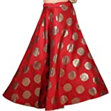 STUDIO Shringaar Women's Soft Satin Brocade Wedding Sangeet Skirt Lehenga Ghagra (Free Size)