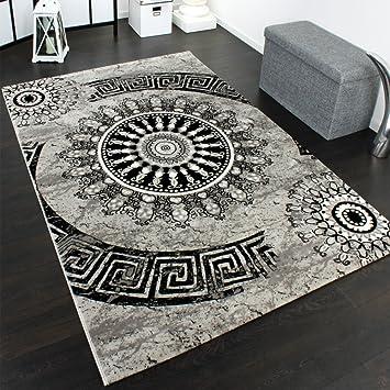 Teppich grau schwarz  Teppich Klassisch Gemustert Kreis Ornamente in Grau Schwarz ...