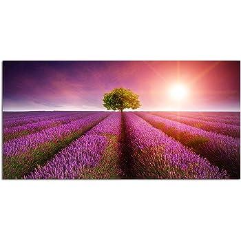 Lavendelfeld 1P Bild auf Leinwand Wandbild Edel Poster Kunstdruck