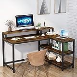 Tribesigns Bureau en Forme de L, Table d'Angle avec étagère de Rangement & Support d'écran, Table d'étude, Table Informatique