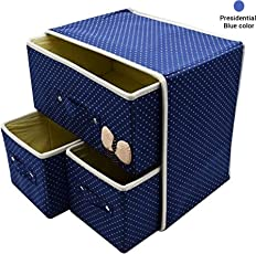 TIED RIBBONS 2 Layer 3 Drawer Foldable Fabric Storage Box