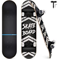 Funxim Skateboard Standard per Bambini 31 x 8 Pollici a 4 Ruote a 7 Strati in Legno di Acero Double Kick Skateboard…