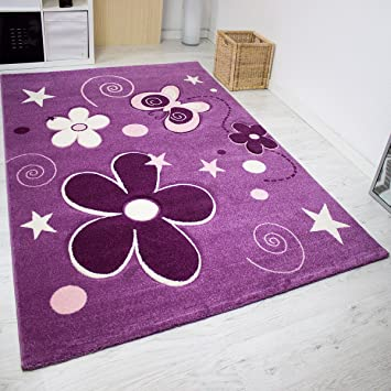 Kinderteppich sterne lila  Kinder Teppich Modern Blumen Sterne Farbe Lila – VIMODA; Maße ...