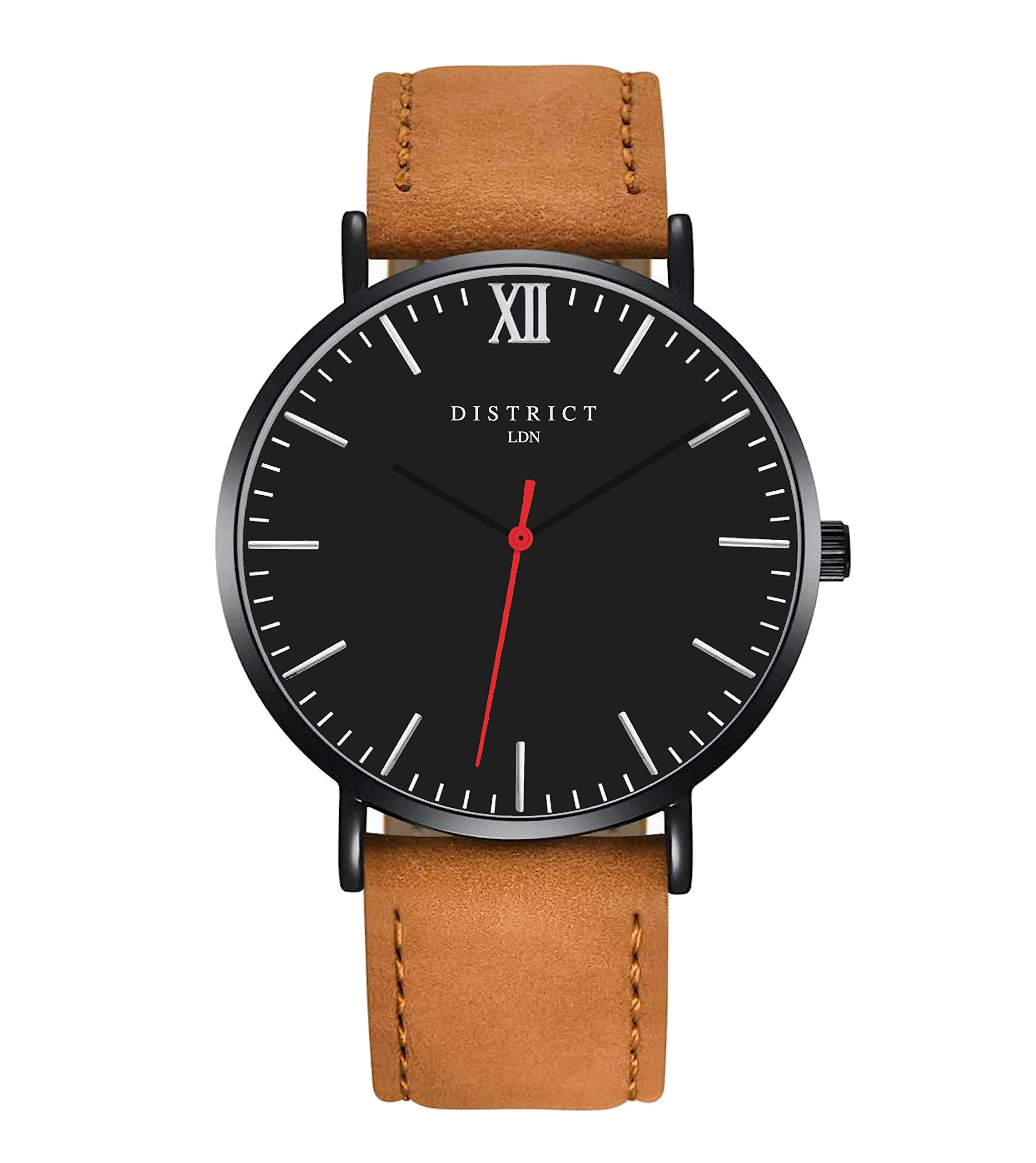 District London Rouge Edition Mens Genuine Leather Brown Strap Watch with Simple Casual Design and Black Dial – Gents Wristwatches