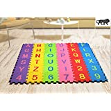 RAYFIN 36 Pieces Mini Puzzle Foam Mat for Kids, Interlocking Learning Alphabet and Number Mat,Flooring Mat for Children…
