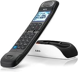 """AEG Tongoo 15 - Schnurloses 1.6"""" Design DECT-Telefon mit Freisprecheinrichtung, Anrufbeantworter und Anruf Blocker, Weiß"""