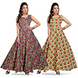 Trendy Fab Women's Cotton Jaipuri Printed Maxi Long Dress (Multicolour, Free Size) -Combo of 2 Pieces