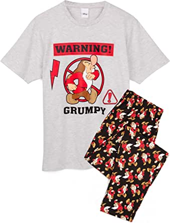 Disney Grumpy Mens Pyjamas | Dwarf Character Novelty PJ Set | Grey & Black Sleepwear Top and Lounge Pants